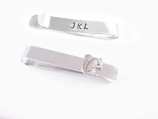 Squirrel Initial Tie Clip Bar Men Father Unisex Gift - Jewelrylized  - 1