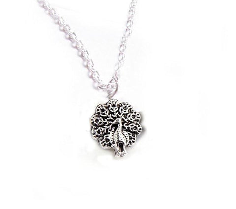 Antiqued Silver Peacock Necklace - Jewelrylized.com