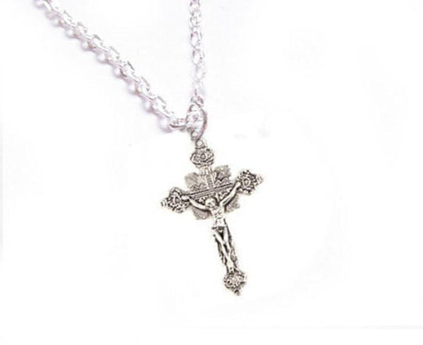 Ornate Cross Jesus Necklace, Religious Christian pendant gift for her - Jewelrylized