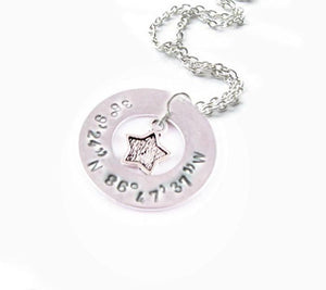 Star Longitude Latitude Necklace, Washer Necklace, Hand Stamped Necklace, Personalized Jewelry - Jewelrylized.com