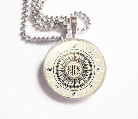 Silver Compass Personalized Monogram Necklace, Jewelrylized