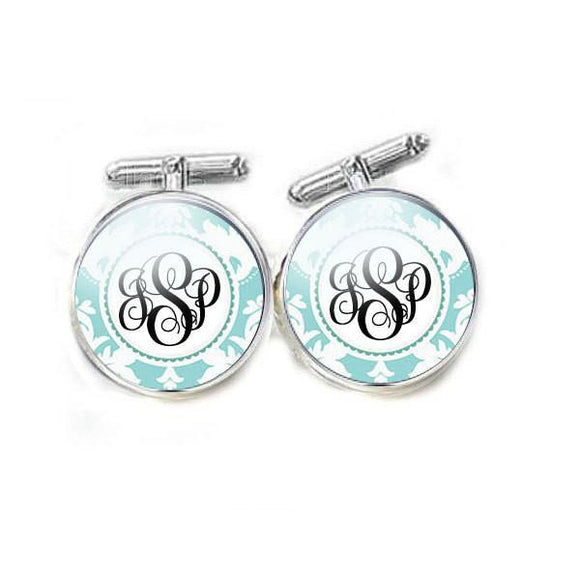 Blue Personalized Monogram Cufflinks - Jewelrylized.com