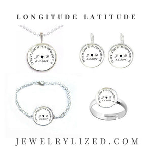 Initials Longitude Latitude Bracelet, Matching Necklace, Earrings, Ring - Jewelrylized.com