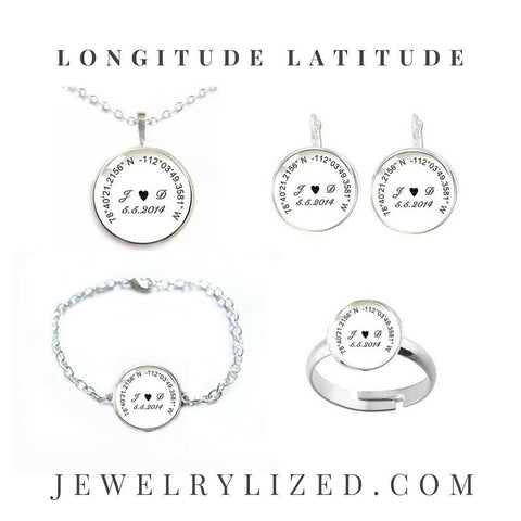 Initials Longitude Latitude Bracelet, Matching Necklace, Earrings, Ring - Jewelrylized
