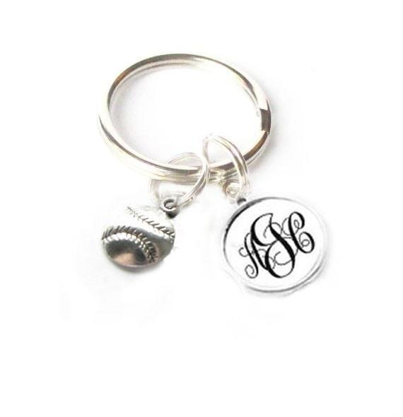 Baseball Personalized Monogram Keychain - Jewelrylized.com