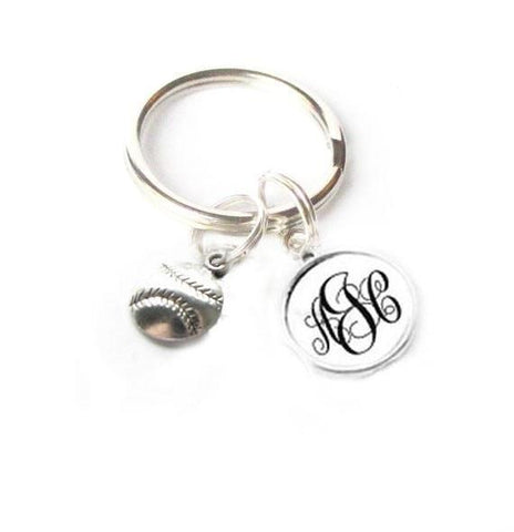 Baseball Keychain, Personalized Monogram Keychain, Sports Keychain - Jewelrylized