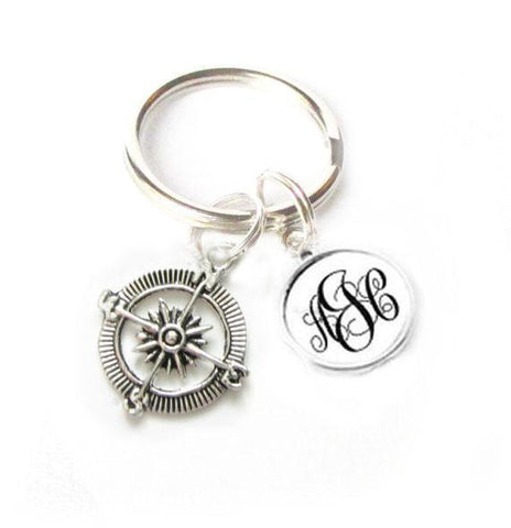 Compass Keychain, Personalized Monogram Keychain, Navigation Keychain - Jewelrylized