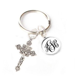 Ornate Cross Personalized Monogram Keychain - Jewelrylized.com