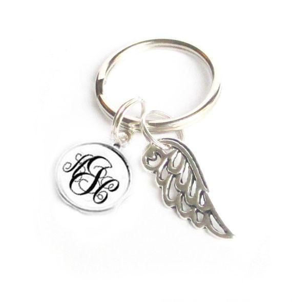 Silver Angel Wing Monoram Keychain, Personalized Initials Keychain - Jewelrylized.com