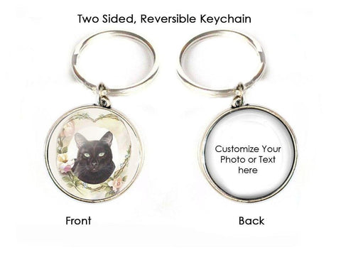 Black Cat Keychain, Custom 2 Sided Key Chain - Jewelrylized