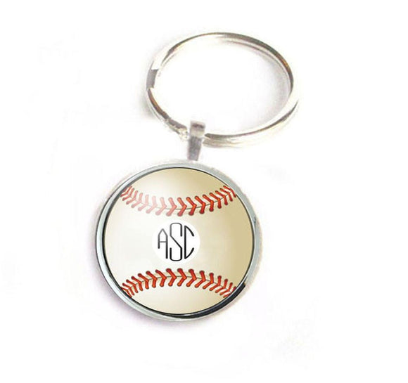 Personalized Baseball Keychain with Monogram - Jewelrylized.com
