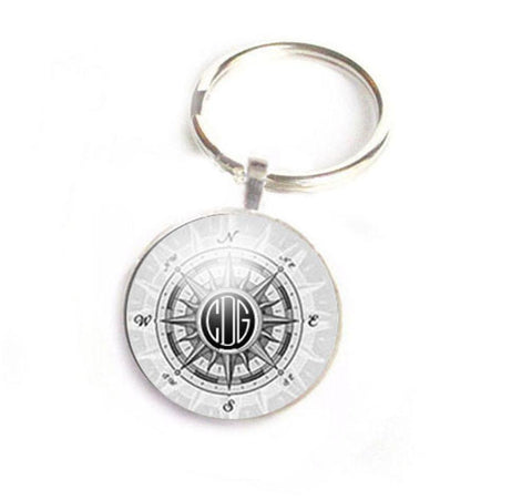 Compass Monogram Initials Keychain, Personalized  Keychain - Jewelrylized  - 1