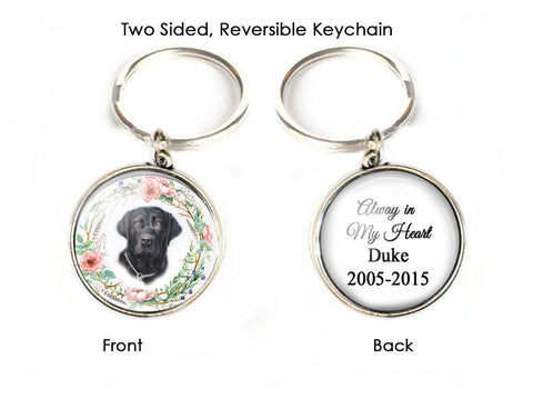 Silver Pet Memorial Keychain, Dog photo 2 Sided keychain - Jewelrylized.com