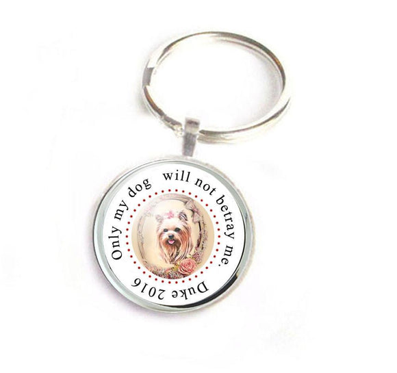 Yorkie Yorkshire Terrier Dog Keychain, Dog photo keychain, Pet Memorial Keychain - Jewelrylized