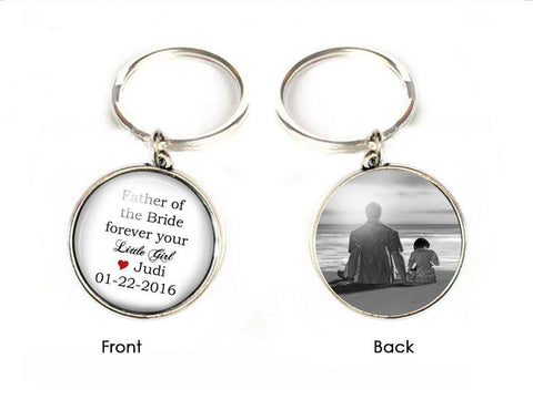 Customize Father of the Bride Keychain, Mother of the Bride Key chain, Wedding Gift, Double Side Photo Keychain - Jewelrylized  - 1