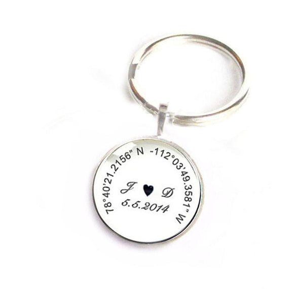 Personalized Latitude Longitude Initials Keychain - Jewelrylized.com