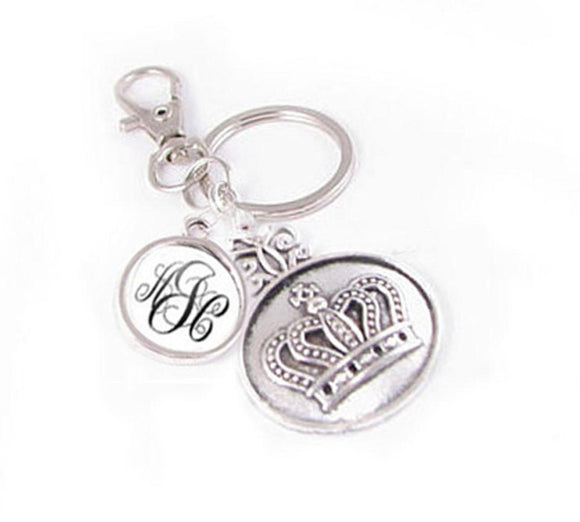 Crown Personalized Monogram Keychain Key chain - Jewelrylized.com