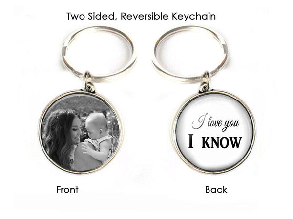 I love you I know Keychain, Mother Daughter Son 2 Sided Photo Keychain - Jewelrylized