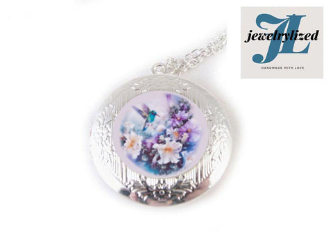 Hummingbird Locket Necklace, Bird Jewelry - Jewelrylized.com