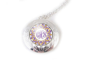 Purple Gold Monogram Locket, Initials Silver Photo Locket Necklace - Jewelrylized.com