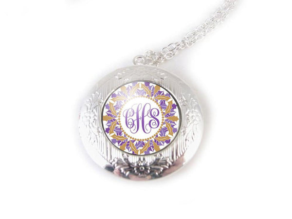 Purple Gold Monogram Locket, Initials Silver Photo Locket Necklace - Jewelrylized  - 1