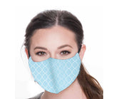 Light Blue Damask Face Mask, Cotton