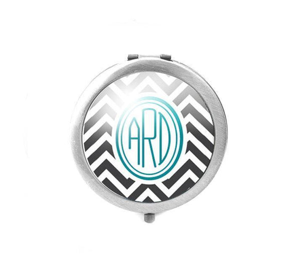 Chevron Monogram Personalized Magnifying Mirror - Jewelrylized.com