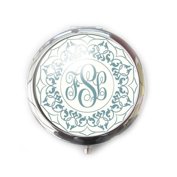 Green Ornate Personalized Monogram Compact Mirror - Jewelrylized
