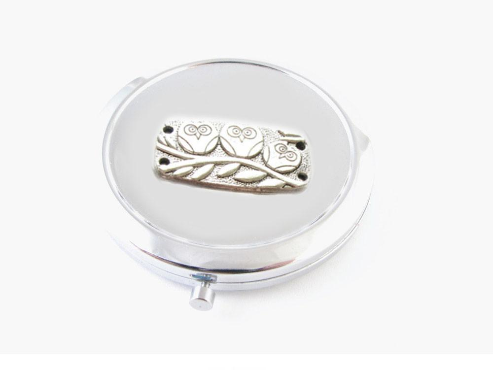 Owl Mirror, Makeup Pocket 2x Magnifying Compact Mirror - Jewelrylized.com