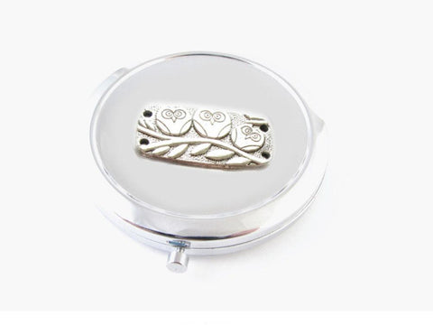 Owl Mirror, Makeup Pocket 2x Magnifying Compact Mirror, Jewelrylized