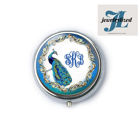 Blue Peacock Monogram Magnifying Mirror, Jewelrylized