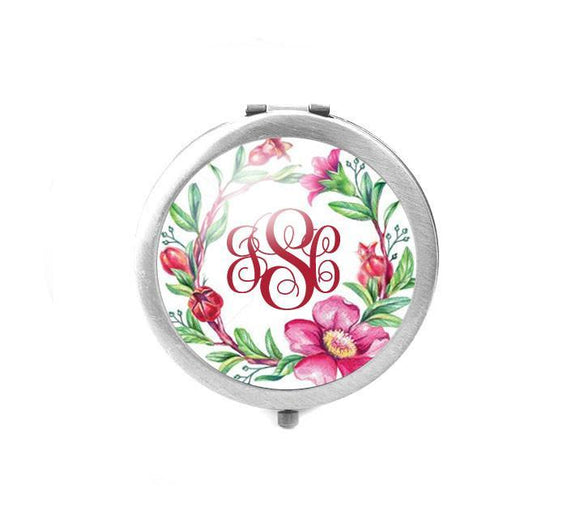 Flower Monogram Magnifying Compact Mirror - Jewelrylized.com