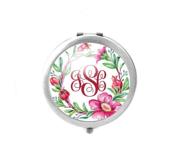 Flower Monogram Magnifying Compact Mirror - Jewelrylized