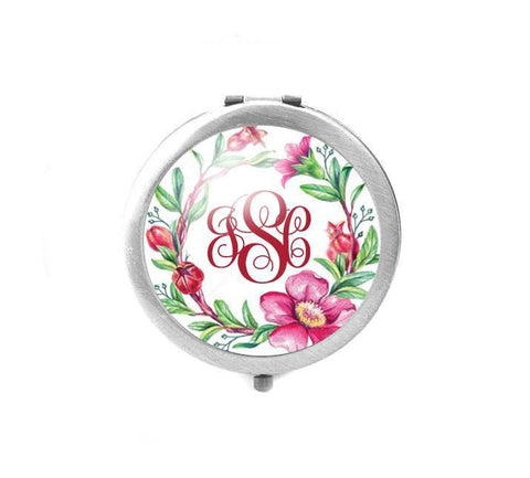 Flower Monogram Compact Mirror - Jewelrylized  - 1
