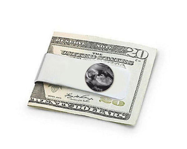 Silver Sonogram Money Clip, Ultrasound Money Holder, New Father gift, Photo Money Clip - Jewelrylized.com