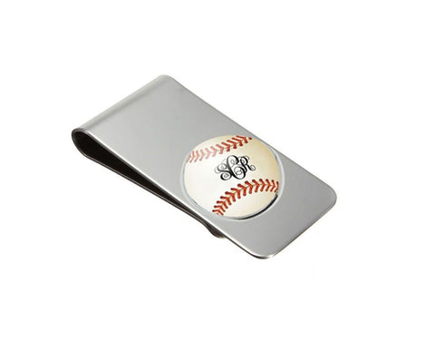 Baseball Money Clip with Personalized Monogram - Jewelrylized.com