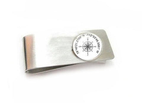 Compass Latitude Longitude Money Clip, Photo Money Clip, Men Father Gift Accessory