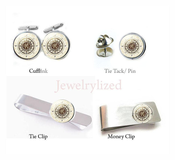 Compass Initials Cufflinks, Tie Clip, Tie Tack, money Clip - Jewelrylized