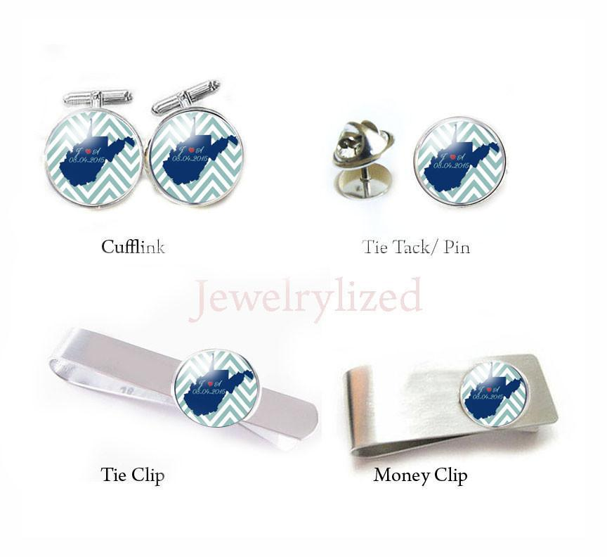 US States Map Personalized Cufflinks, Handmade Tie Clip, Money Clip, Tie Tack - Jewelrylized  - 1