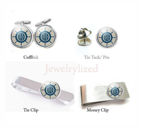 Nautical Ship Wheel Monogram Cufflinks, Tie Clip, Tie Tack, Money Clip, personalized gift for men - Jewelrylized