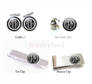 Personalized Monogram Money Clip, Cufflinks, Tie Clip, Tie Tack - Jewelrylized.com