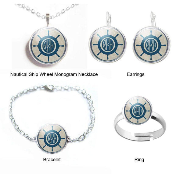 Nautical Ship Wheel Monogram Earrings, Ship Wheel Necklace, Ship Wheel Bracelet, Personalized Jewelry, Customize Ring - Jewelrylized  - 1