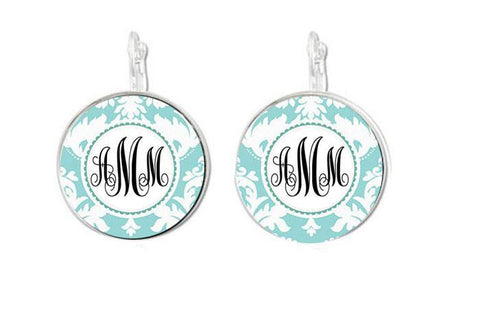 Light Blue Monogram Earrings, Personalized Earrings. Monogram Necklace, Monogram Bracelet, Initials Ring, - Jewelrylized  - 1