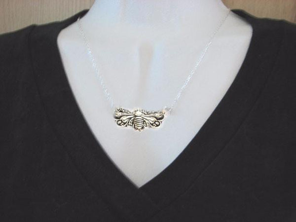 Large Bee Antiqued Silver Necklace - Jewelrylized
