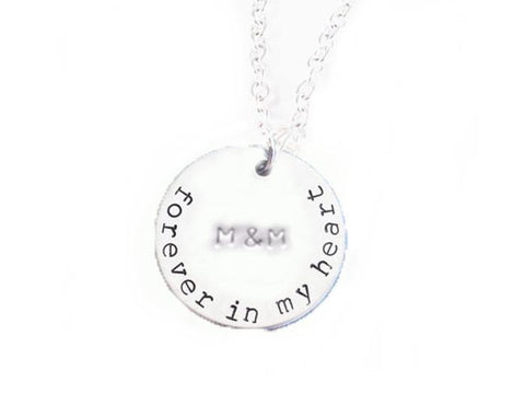 Forever in My Heart Hand Stamped Initials Necklace - Jewelrylized.com