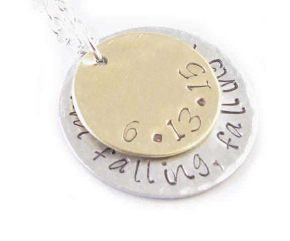 Two Tone Hand Stamped Personalized Necklace, Hammered Layered Sterling Silver Brass Pendant - Jewelrylized  - 1