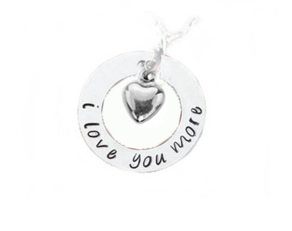 I Love You More Heart Charm Necklace, Hand Stamped sterling silver Heart Necklace - Jewelrylized.com