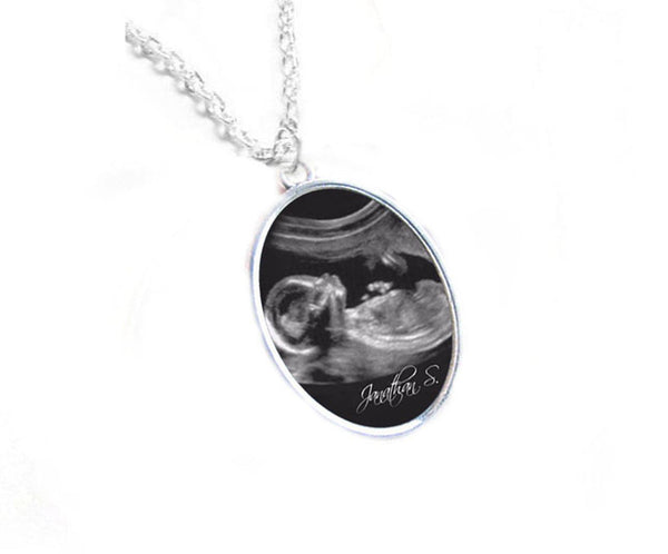 Oval Sonogram Necklace, Pregnancy Gift, birth announcement, Gift for New Mother, Silver Ultrasound Necklace - Jewelrylized