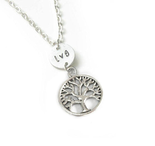 Silver Tree and Initial Personalized Hand Stamped Necklace - Jewelrylized  - 1