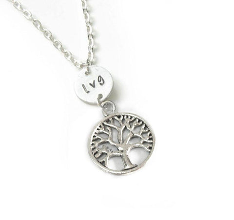 Silver Tree and Initial Personalized Hand Stamped Necklace - Jewelrylized.com